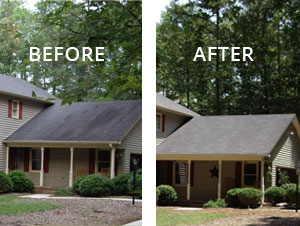 Stain Solver Roof cleaning before & after