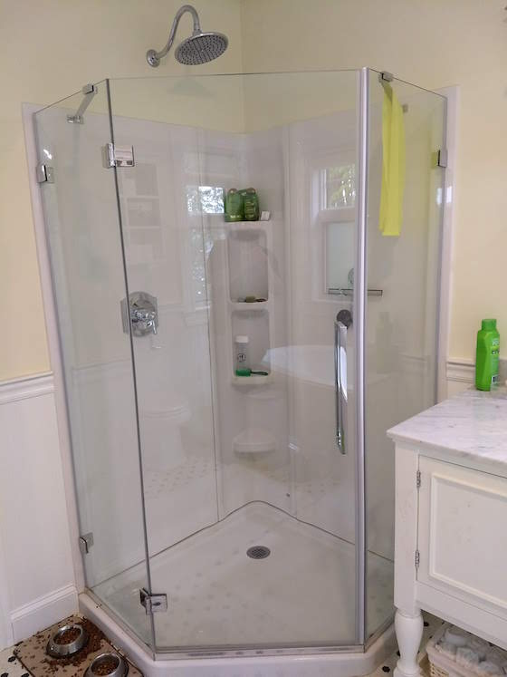 Corner Shower is Easy and Sleek