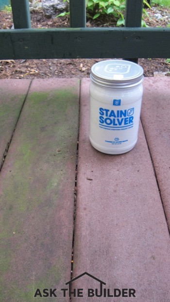 Oxygen bleach was used to remove the algae from the decking boards on the right. Photo Credit: Tim Carter