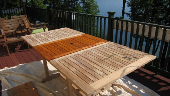 Restoring Teak Wood Furniture ~ Restoring a weathered teak table ask the builder