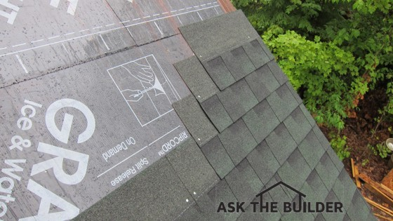 This is a small but steep roof. The staggered offset for each row is exactly what the instructions say to do. Photo Credit: Tim Carter