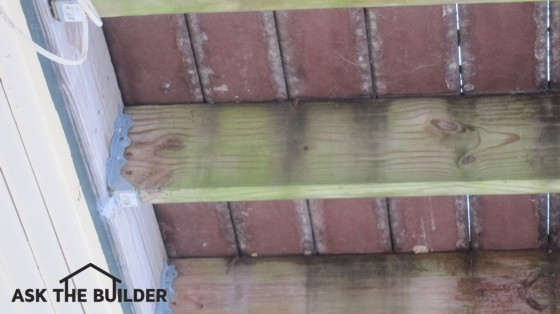 The floor joists under this deck are covered with unsightly mildew and algae. Photo Credit: Tim Carter