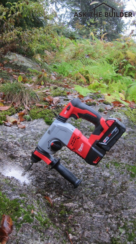 The 18-volt cordless drill shown here drilled a deep 5/8-inch diameter hole into solid granite in less that a minute!. Photo Credit: Tim Carter