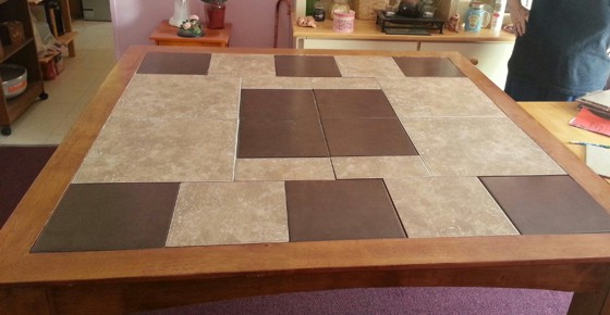 This handsome table is ready to be grouted. It's best to use sanded grout for durability. Photo Credit: Victor Hector