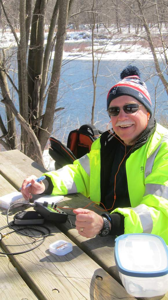 Here I am after doing Morse code. Photo credit: Jim Cluett, W1PID