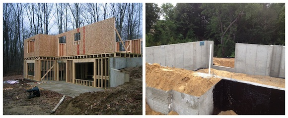 Frame or concrete rear wall on walkout basement ask the builder the image on the left is what joes builder wants to do joe thinks he solutioingenieria Image collections