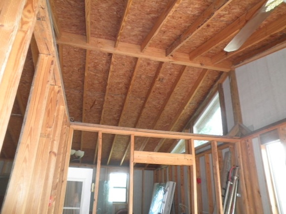 Here's the underside of Janice's vaulted addition ceiling. I sure wish the Star Trek transporter technology existed so I could get there in seconds to really look at what's going on. Photo credit: Janice Rozier