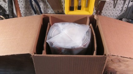 The paint can is place in a heavy plastic sealed bag just in case of a problem. Photo credit: Tim Carter
