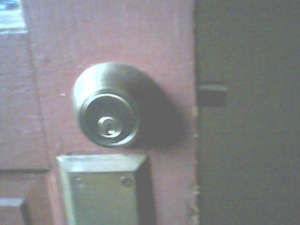 This is Terry's deadbolt. You can see the bolt sticking out of the edge of the door. Photo credit: Terry Shirley