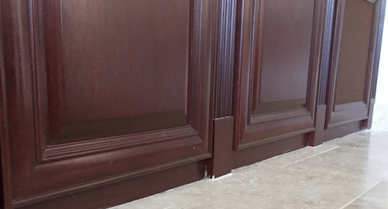 You can see the grout on the toe kick area where the cabinets meet the floor. Photo credit: Deb Teitelbaum