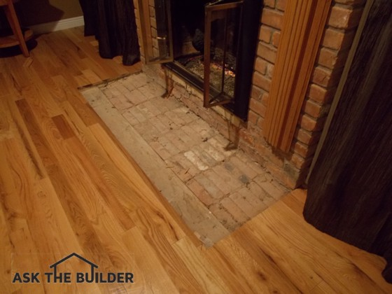 Tile fireplace hearth ask the builder for Floor hearth