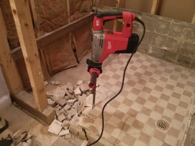 Use A Handy Power Tool Like This Hammer Drill / Chisel And Your Mud Shower  Pan