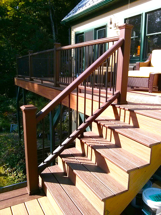 This deck stair railing was made using great skill and modular parts designed to fit together. Photo Credit: Tim Carter