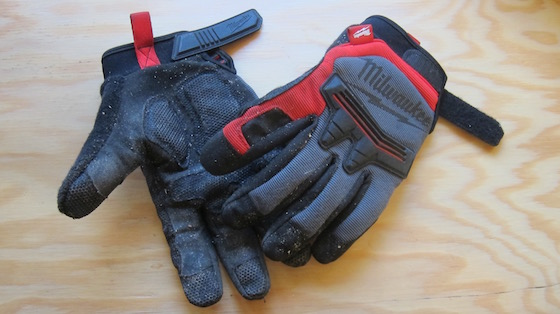Here are the Milwaukee Demolition Gloves. As you can see, I TEST them before I write about them. (C) Copyright 2016 Tim Carter