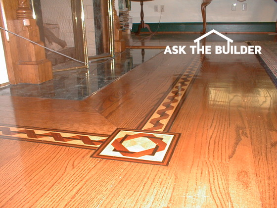 This is the hardwood floor, with decorative inlay, that was in my own home  I built. The installer I hired used a straightedge and shingles to make the  ... - Getting A New Hardwood Floor Level Ask The Builder