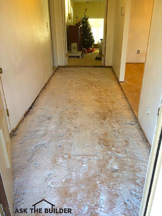 Laminate Entryway Flooring Ideas: Laminate Floor Over Concrete Mortar Bed
