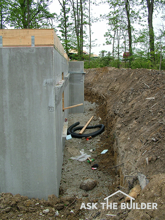Backfilling a foundation wall ask the builder for Poured concrete basement walls