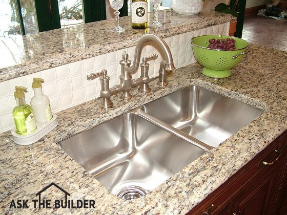 Undermount Kitchen Sink Installation is Easy | AsktheBuilder.com on porcelain sinks for kitchens, prep sinks for kitchens, vessel sinks for kitchens, corner sinks for kitchens, hardware for kitchens, hardwood for kitchens, double sinks for kitchens, instant hot water taps for kitchens, modern sinks for kitchens, ovens for kitchens, stainless steel appliances for kitchens, microwaves for kitchens, countertops for kitchens, stone for kitchens, lighting for kitchens, cabinets for kitchens, granite for kitchens, farm sinks for kitchens, faucets for kitchens, apron sinks for kitchens,