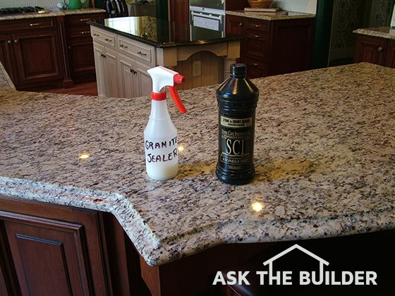 Sealer bottles on granite countertop