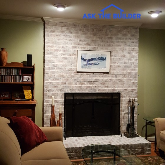 Whitewash Fireplace Brick - After