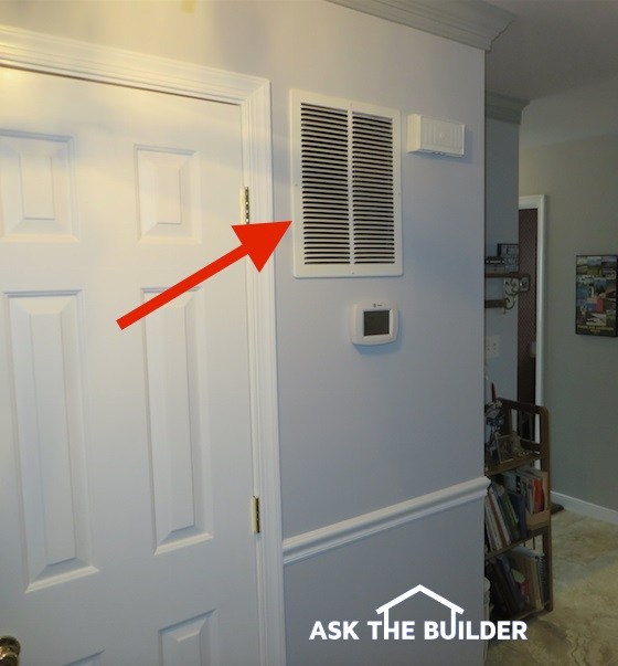 The Red Arrow Points To A Large Wall Mounted Hvac Return Air Vent Furnace Or Handler Is Probably On Other Side Of Behind That Door