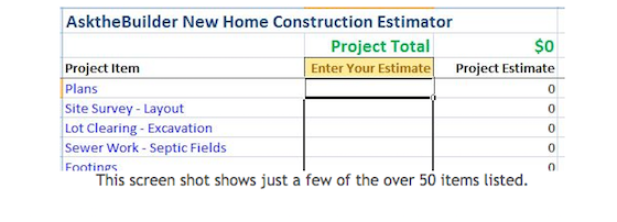 Home cost estimator home cost estimator line cost for Cost of new home construction calculator