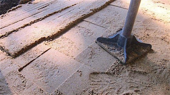 paver patio diy compated sand