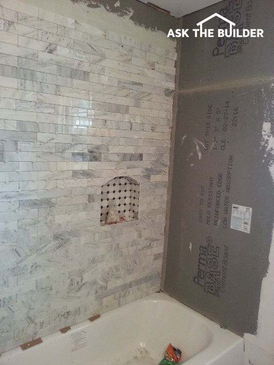 bathroom project shower tile walls backer board