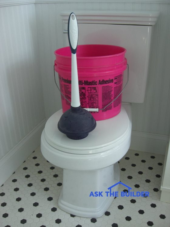 Clogged Toilet - Plunger and Bucket