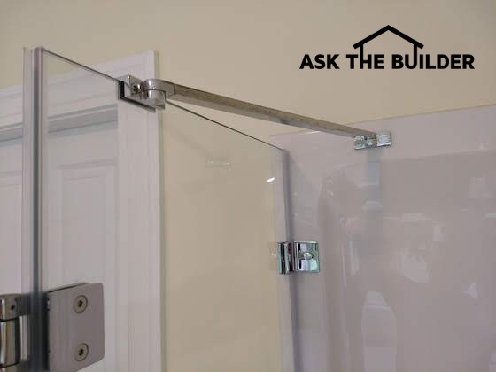 glass corner shower brace