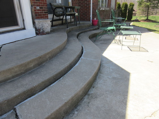 cracked curved concrete steps