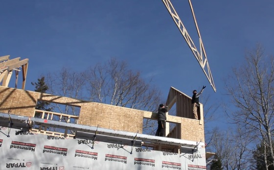second floor trusses going up