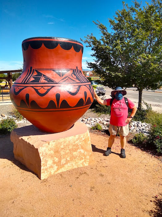 giant pot at the shuttle bus stop