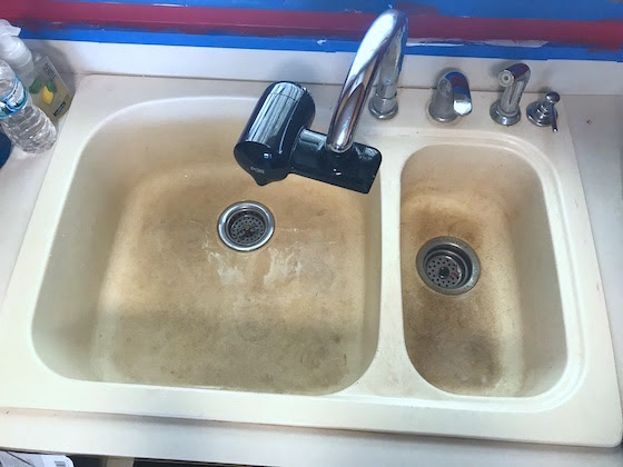 stained double sink