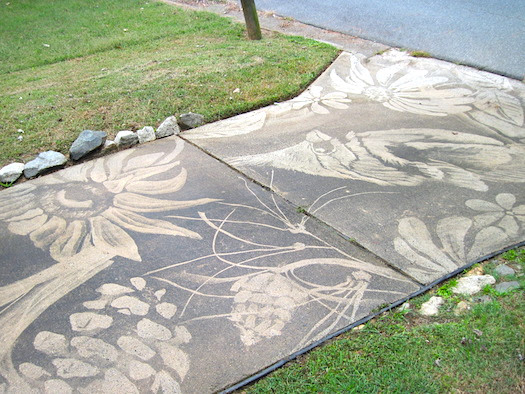 Flowers on concrete - pressure washer