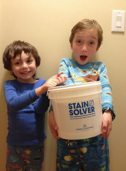 Kids holding Stain Solver