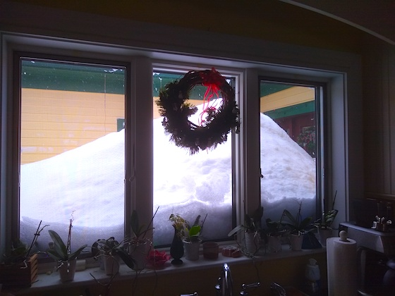 deep snow on front porch