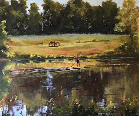 oil painting river horses boy on raft