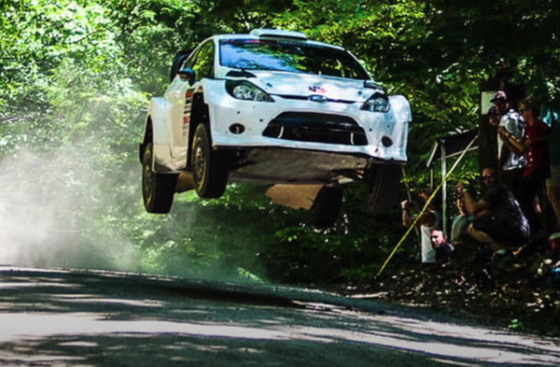 rally car in the air